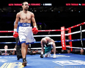 February 25, 2012 - St Louis, MO: Keith Thurman and Chris Hernandez trade punches during their bout at the Scottrade Center in St Louis, Missouri on February 25, 2012 .